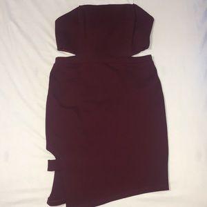 Strapless cutout dress.